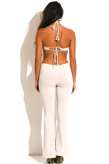 $10 - Cute cheap wide leg sexy party jumpsuit - nude beige rope halter cut out backless wide leg summer party jumpsuit