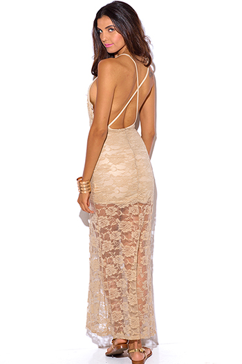 $10 - Cute cheap light pink sheer lace high neck backless mini dress - nude beige sheer lace v neck criss cross backless high slit fitted evening sexy party maxi dress