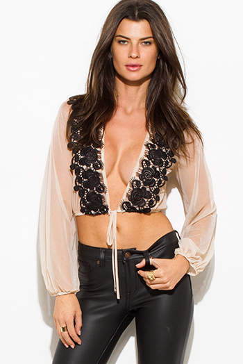 $15 - Cute cheap black mesh crop top - nude beige sheer mesh deep v neck black crochet lace trim drawstring hem blouson long sleeve cropped blouse top