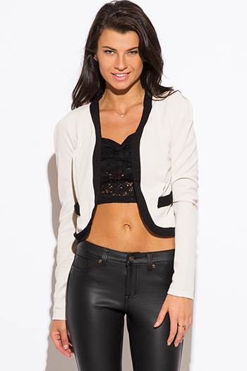 $15 - Cute cheap oatmeal beige color block open blazer jacket top