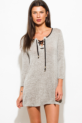 $15 - Cute cheap cotton tunic - oatmeal gray two twoned cotton blend long sleeve laceup front tunic top mini shirt dress