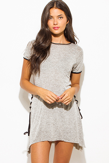 $15 - Cute cheap charcoal gray cotton blend choker v neck cut out quarter sleeve bodycon fitted bodysuit top - Oatmeal gray two twoned cotton blend short sleeve laceup side tunic top mini shirt dress