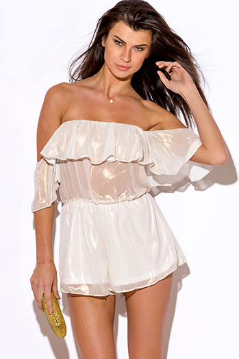 $25 - Cute cheap white sexy party blouse - ivory white metallic chiffon ruffle off shoulder party romper jumpsuit