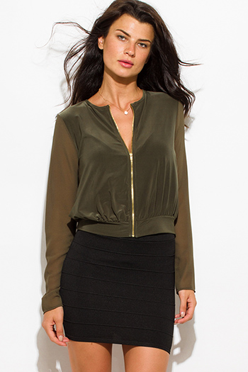 $15 - Cute cheap long sleeve dresses.html - olive green chiffon contrast long sleeve military zip up bomber jacket top
