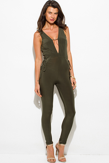$25 - Cute cheap stripe mesh fitted jumpsuit - olive green deep v neck lace up sides sleeveless open back bodycon fitted sexy clubbing catsuit jumpsuit