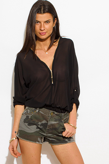 $15 - Cute cheap pocketed sexy club tunic - olive green denim army camo print pocketed mid rise cutoff jean shorts