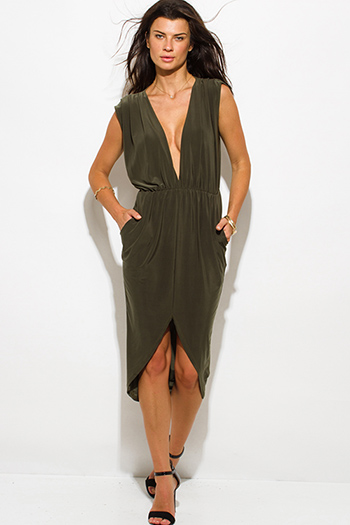 $15 - Cute cheap green fitted midi dress - olive green draped front slit low v neck pocketed sexy club midi dress