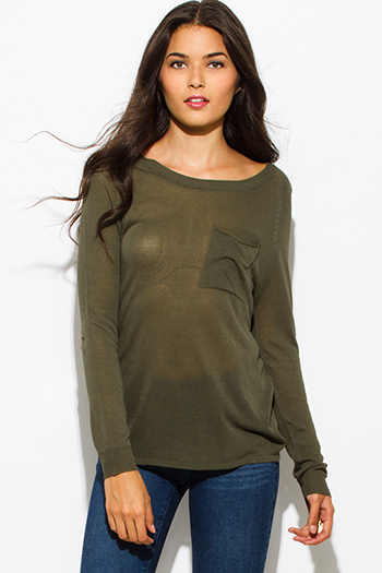 $15 - Cute cheap olive green front pocket long sleeve sweater knit top