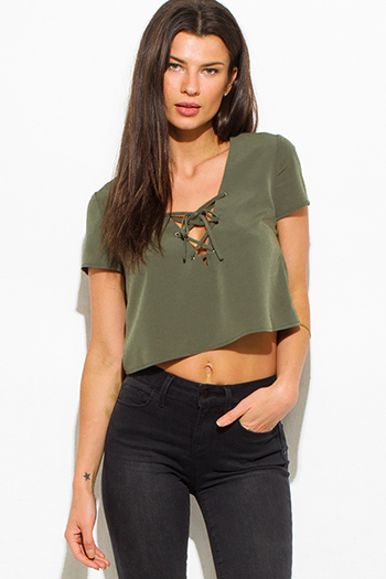 $10 - Cute cheap black sheer mesh deep v neck crochet lace trim drawstring hem blouson long sleeve crop blouse top - olive green laceup v neck short sleeve sexy party crop blouse top
