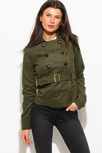 $25 - Cute cheap coat - olive green military utilitarian long sleeve double breasted belted peacoat wool jacket
