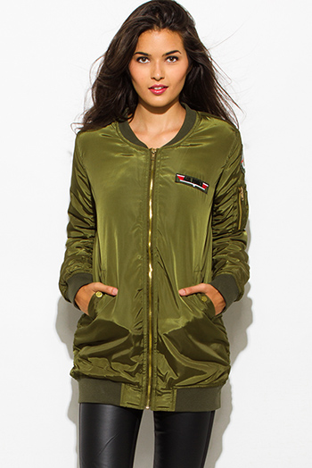 $35 - Cute cheap white chiffon contrast long sleeve military zip up bomber jacket top - olive green military zip up pocketed patch embroidered puff bomber coat jacket