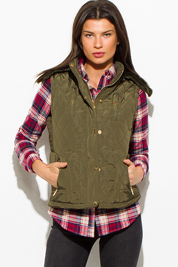$25 - Cute cheap red quilted faux fur lined front zip banded hooded zipper pocketed crop puffer vest top - olive green quilted suede contrast faux fur lined golden button zip up hooded pocketed vest