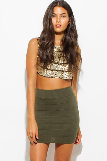 $10 - Cute cheap fitted party skirt - olive green ribbed knit bandage bodycon fitted sexy club mini skirt