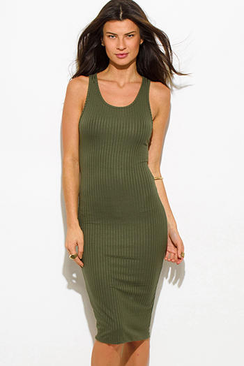 $20 - Cute cheap v neck fitted midi dress - olive green ribbed knit sleeveless scoop neck racer back bodycon fitted sexy club midi dress