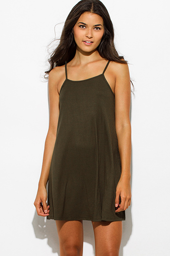 $10 - Cute cheap open back sexy party mini dress - olive green ribbed spaghetti strap backless party mini dress
