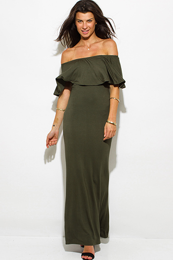 $20 - Cute cheap draped maxi dress - olive green rayon jersey ruffle off shoulder tiered formal evening maxi sun dress