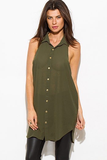 $15 - Cute cheap floral chiffon top - olive green semi sheer chiffon button up racer back tunic blouse top mini dress