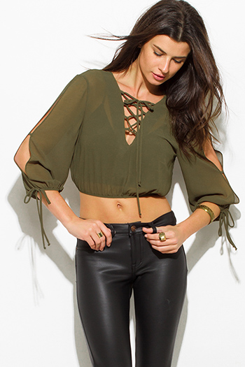 $10 - Cute cheap olive green sheer chiffon laceup cut out slit blouson laceup long sleeve boho crop blouse top