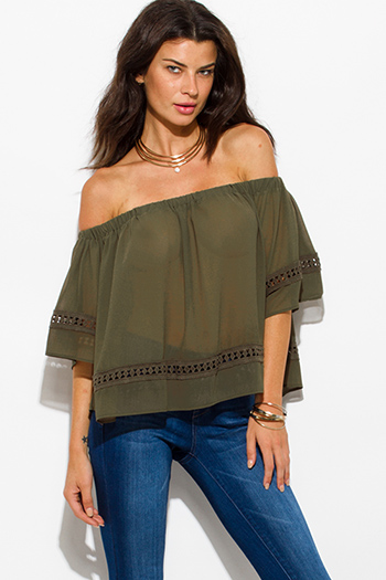 $15 - Cute cheap clothes - olive green sheer chiffon off shoulder flutter sleeve crochet trim boho blouse top