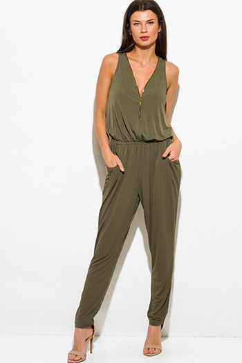 $25 - Cute cheap mesh high neck jumpsuit - olive green sleeveless deep v neck golden zipper pocketed harem catsuit jumpsuit