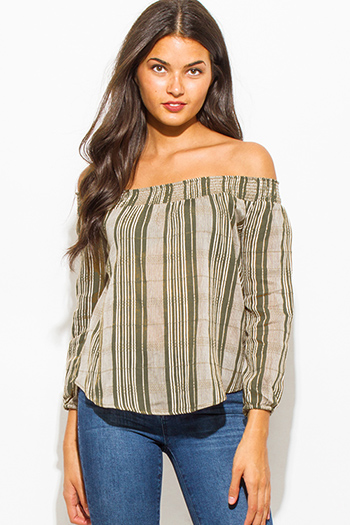 $15 - Cute cheap gauze boho blouse - olive green stripe print off shoulder long sleeve boho blouse top