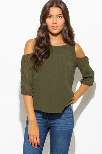 $20 - Cute cheap print cold shoulder blouse - olive green textured chiffon cold shoulder quarter sleeve keyhole back boho blouse top
