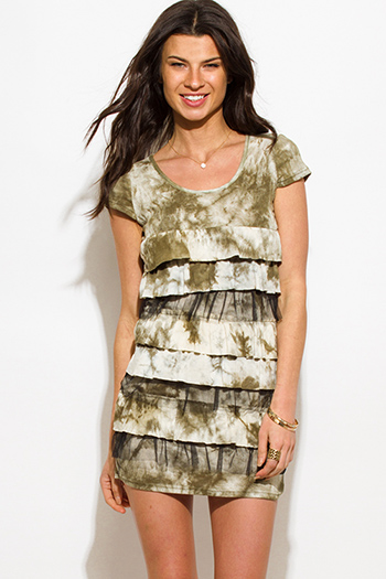 $10 - Cute cheap taupe beige tie dye cut out cross back tiered boho mini sun dress - olive green tie dye cap sleeve layered tiered ruffle boho tunic mini dress