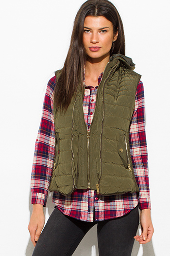 $25 - Cute cheap black zip up banded crop bomber jacket top 1474489539375 - olive green utilitarian zip up faux fur lined golden button zip up hooded pocketed puffer vest