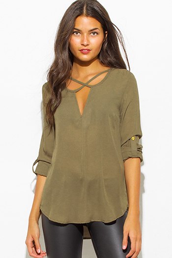 $15 - Cute cheap cotton cut out bodysuit - olive green v neck caged cut out front quarter sleeve boho blouse top