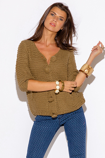 $5 - Cute cheap top sweater cardigan - olive green pocketed quarter sleeve sweater cardigan jacket top