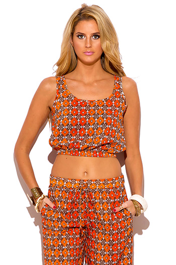 $7 - Cute cheap ethnic print shorts - orange ethnic print boho resort suiting crop top