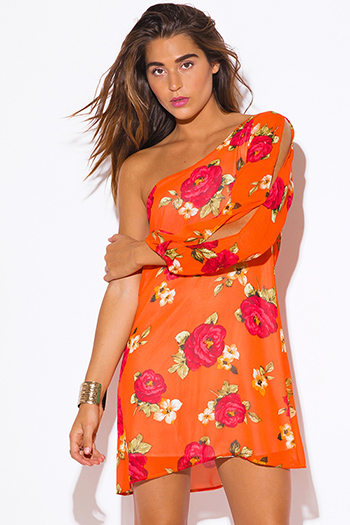 $20 - Cute cheap floral jacket - orange floral print chiffon one shoulder sexy party mini dress