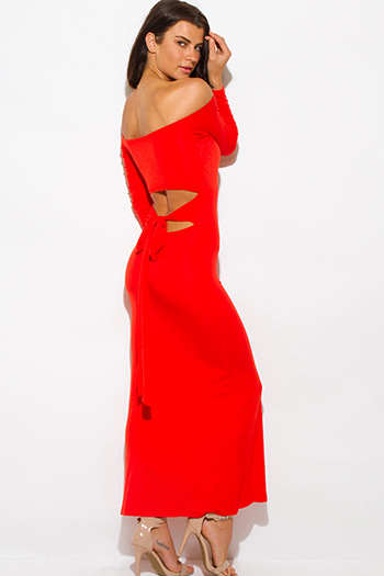 $10 - Cute cheap summer dress - orange off shoulder long sleeve cut out back sexy party maxi dress