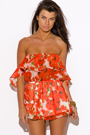 $15 - Cute cheap red yellow abstract print strapless sexy party jumpsuit 79510 - orange red tomato print chiffon ruffle off shoulder boho summer party romper jumpsuit