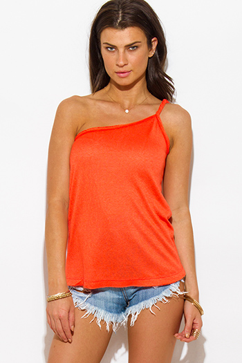 $15 - Cute cheap orange pink floral print one piece bikini swimsuit - orange twist strap one shoulder tank top