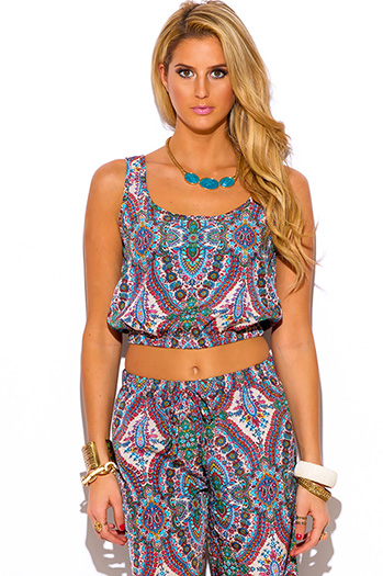 $10 - Cute cheap gauze boho crop top - paisley print boho resort suiting crop top