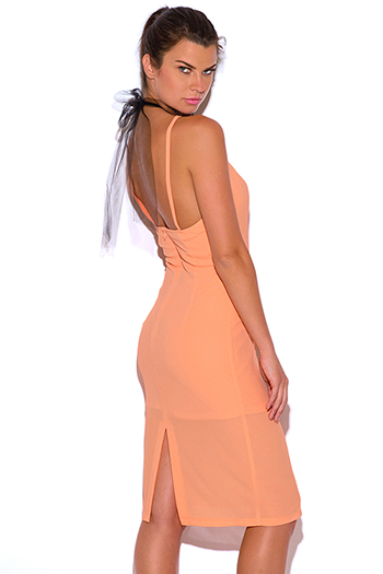 $15 - Cute cheap peplum pencil dress - papaya pastel orange crepe mesh choker bow tie cocktail party pencil sexy club midi dress