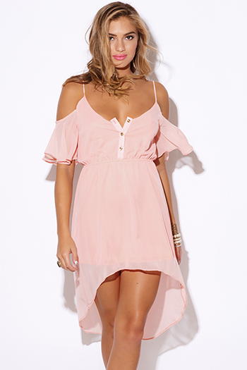 $15 - Cute cheap color pink dress - pastel light pink chiffon cold shoulder ruffle boho high low sexy party dress