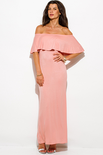 $20 - Cute cheap formal maxi dress - pastel pink rayon jersey ruffle off shoulder tiered formal evening maxi sun dress