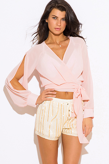 $15 - Cute cheap gold ruffle blouse - peach pink chiffon slit blouson sleeve wrap front crop blouse top