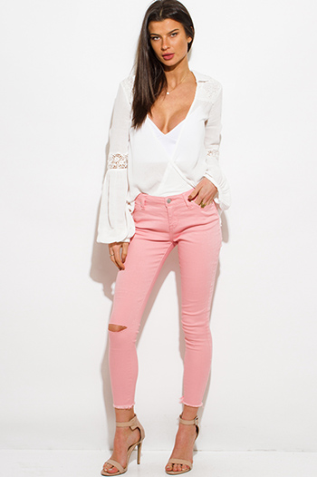 $20 - Cute cheap pink bodysuit - peach pink denim mid rise ripped knee skinny fit ankle jeans