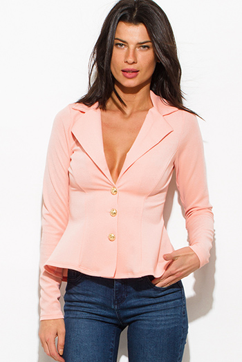 $15 - Cute cheap coral chevron print scuba zip up high neck fitted sporty long sleeve jacket top - peach pink golden button long sleeve fitted peplum blazer jacket top