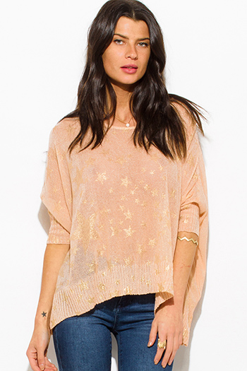 $15 - Cute cheap black laceup indian collar quarter sleeve boho blouse top - peach pink golden star print dolman quarter sleeve boho knit slub top