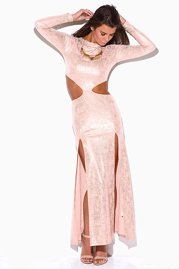 $20 - Cute cheap pink strapless formal dress - peach pink metallic long sleeve double slit cut out formal evening cocktail sexy party maxi dress