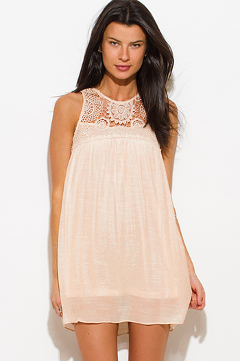 $15 - Cute cheap strapless boho mini dress - peach pink rayon gauze crochet lace panel sleeveless boho mini sun dress