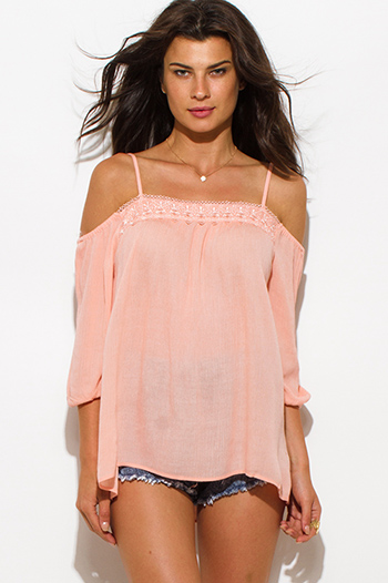 $15 - Cute cheap clothes - peach pink rayon gauze off shoulder quarter sleeve lace trim boho top