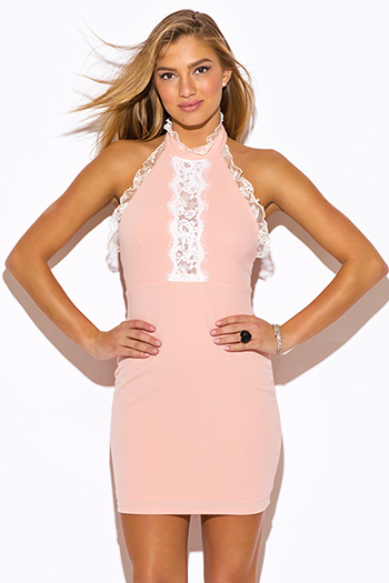$15 - Cute cheap fitted dress - peach pink ruffle lace high neck backless cocktail party fitted sexy clubbing mini dress