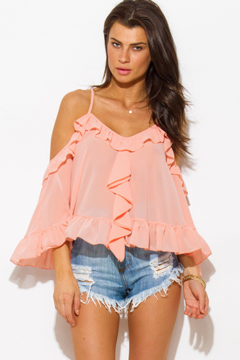 $15 - Cute cheap belted shorts attached long semi sheer skirt 20301 - peach pink semi sheer chiffon off shoulder ruffle criss cross back boho swing poncho top