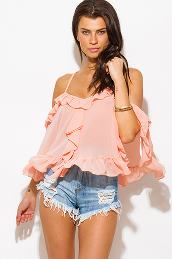 $15 - Cute cheap chiffon off shoulder top - peach pink semi sheer chiffon off shoulder ruffle criss cross back boho swing poncho top