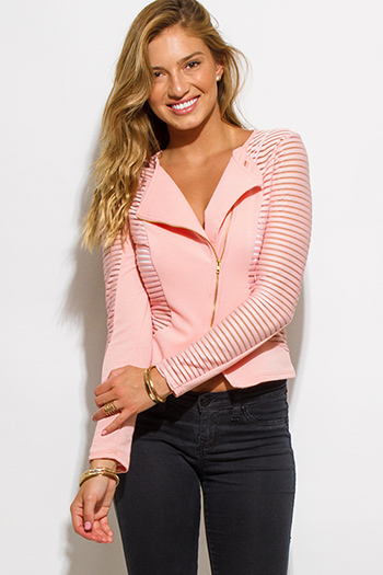 $20 - Cute cheap fall - peach pink sheer stripe mesh contrast asymmetrical zip up moto blazer jacket top